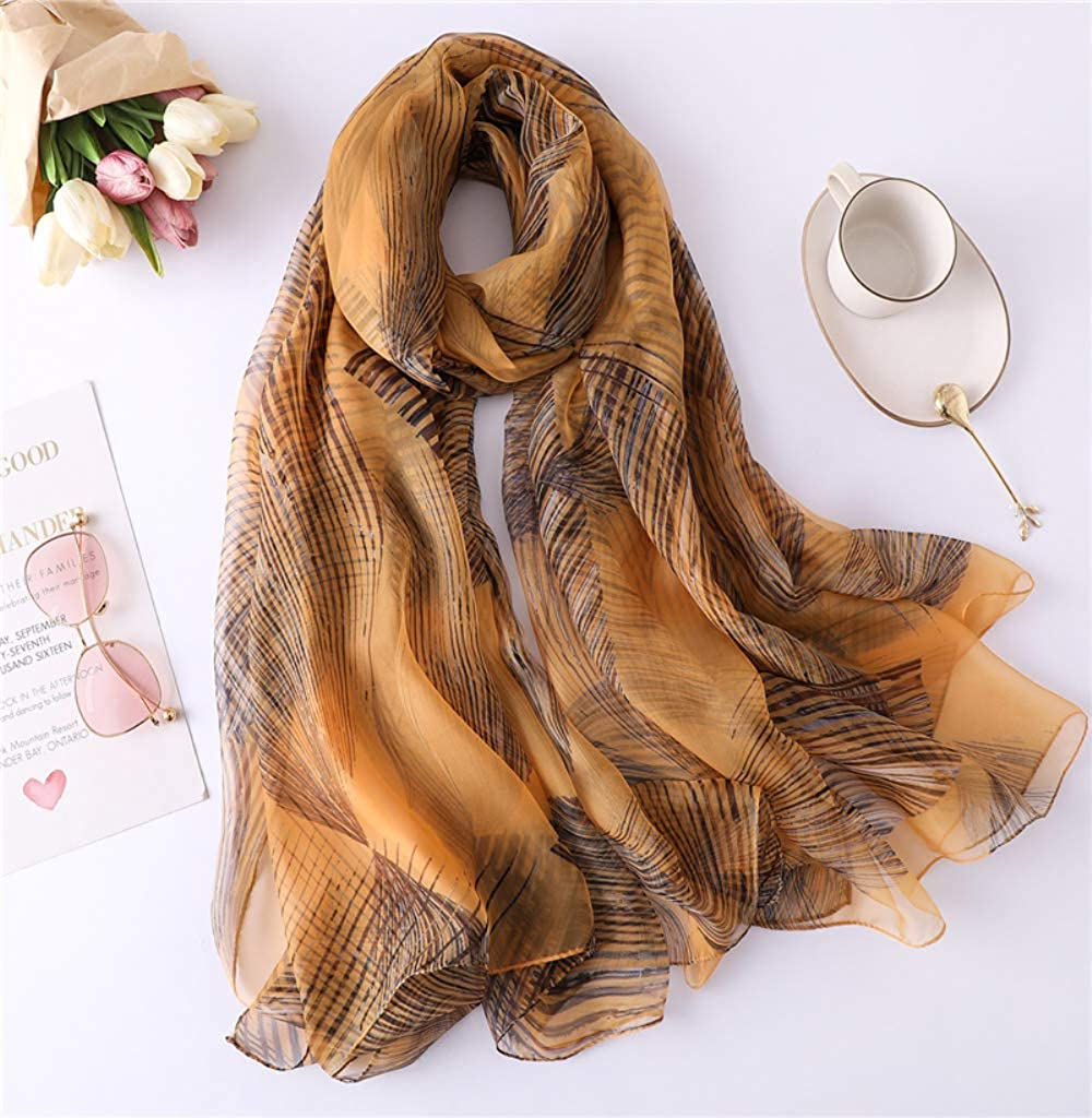 ScarfPersonality Line Abstract Pattern Silk Scarf Female Simulation Silk Thin Soft Yarn Large Size Sun-proof Shawl Beach Towel Summer 135x190cm Yellow