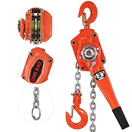 OrangeA 3 Ton Lever Block Chain Hoist 20FT Ratchet Lever Chain Hoist Come  Along Lift Puller (20ft)