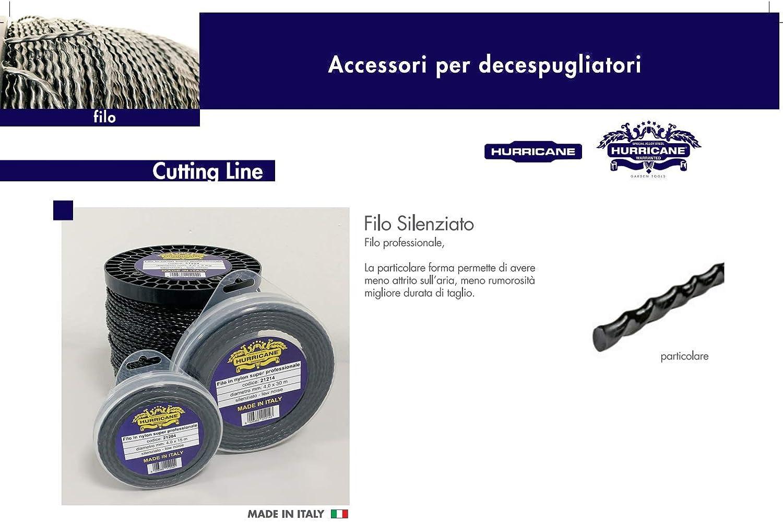 Made in Italy in Nylon Super Professionale Ellipse. HURRICANE Filo per Decespugliatore Elicoidale Silenziato 4.4 mm 25mt