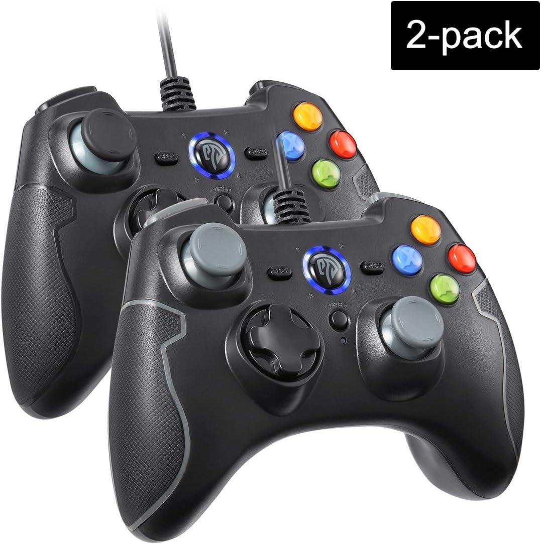 EasySMX 2 Pack Mandos PS3,[ES Stock, Envio Rápido] Mandos PC Gamepad Game, Mando PC Joystick con los Botones de Doble-Vibración, Trigger Compatible con Windows/Android/PS3/TV Box