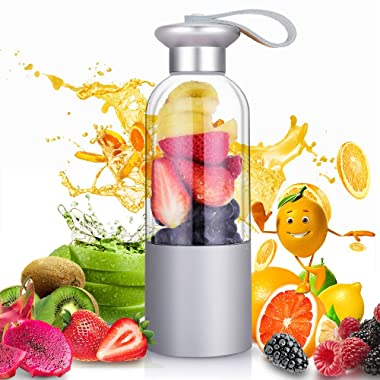 Personal Blender - Portable Blender Bottle for Shakes and Smoothies, USB Rechargeable Smoothie Blender for single served Juicer Blender, Mini Travel Blender, Small Size Easy to Carry (FDA BPA free)