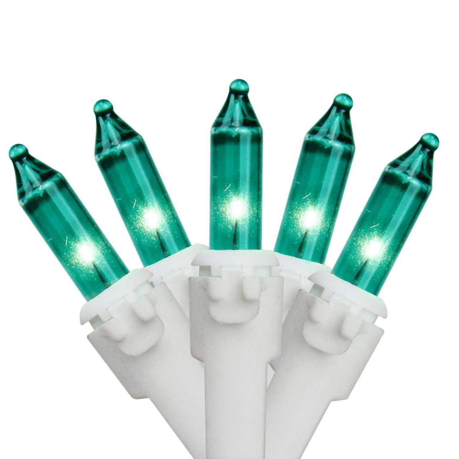 Set of 50 Teal Mini Christmas Lights 6'' Spacing - White Wire