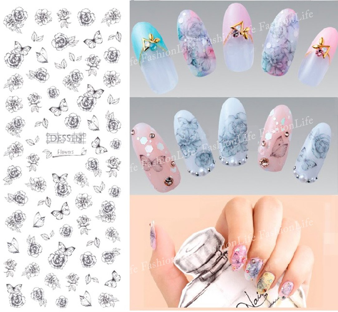 Nail Art Water Transfer Stickers Butterfly And Flower Nail Sticker Tattoo - FashionLife