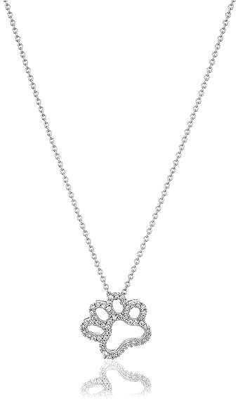 Amazon sterling silver swarovski zirconia dog paw pendant sterling silver swarovski zirconia dog paw pendant necklace 18quot aloadofball Gallery