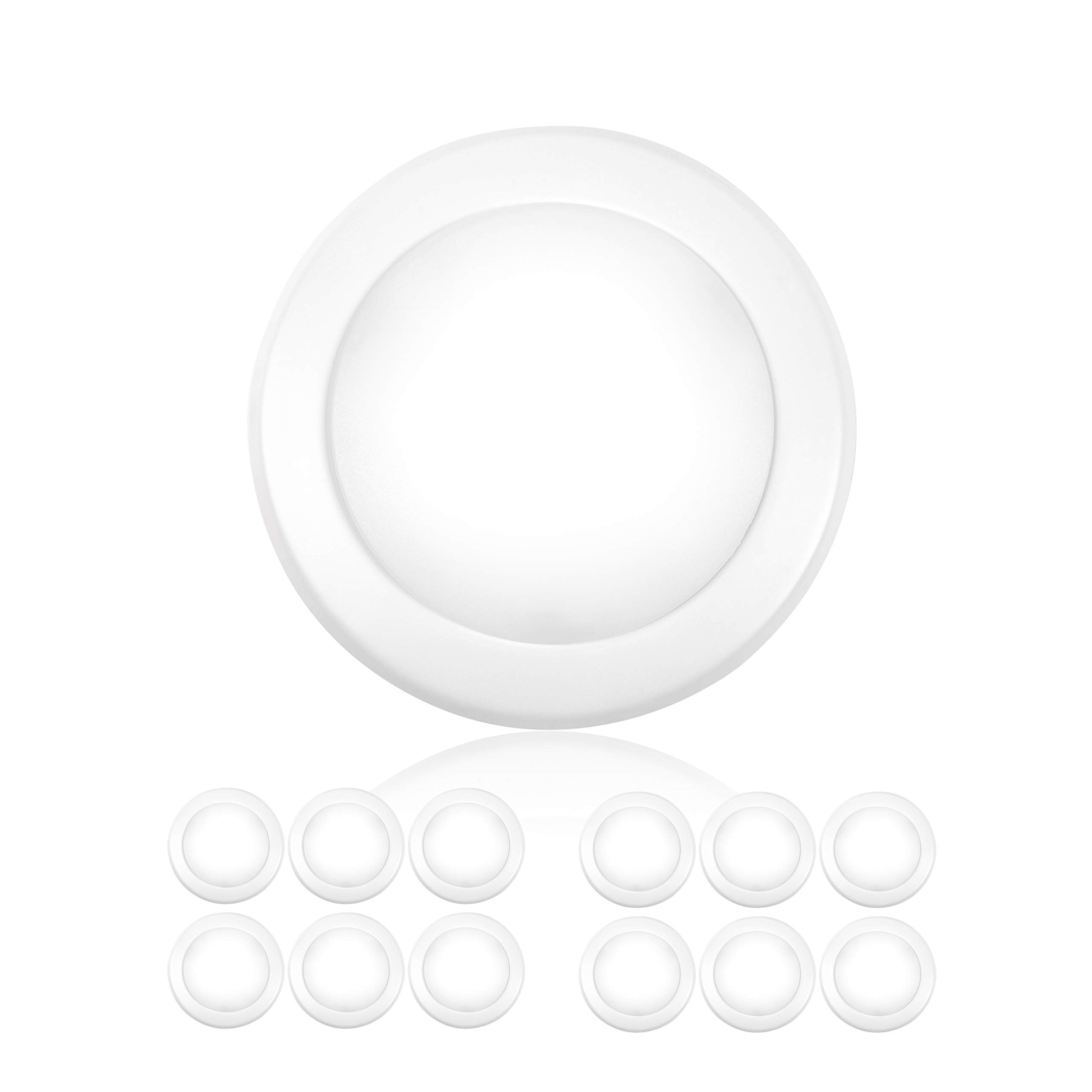 Parmida (12 Pack) 5/6'' Dimmable LED Disk Light Flush Mount Recessed Retrofit Ceiling Lights, 15W (120W Replacement), 5000K (Day Light), Energy Star, Installs into Junction Box Or Recessed Can, 1050lm by Parmida LED Technologies (Image #1)