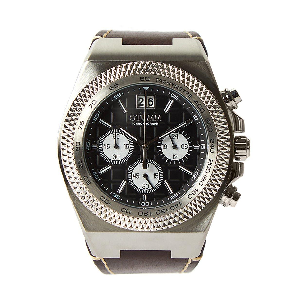 Otumm Big Date Acero 45mm Correa Piel Color 01 BDSTL-45001 Unisex Big Date Reloj: Amazon.es: Relojes