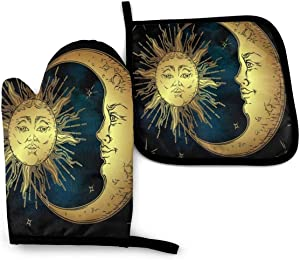 HGFJF Moon Sun Myth Astrology Oven Mitts and Pot Holders Sets Heat Resistant Oven Gloves with Non-Slip Surface for Safe Cooking Baking Barbecue BBQ