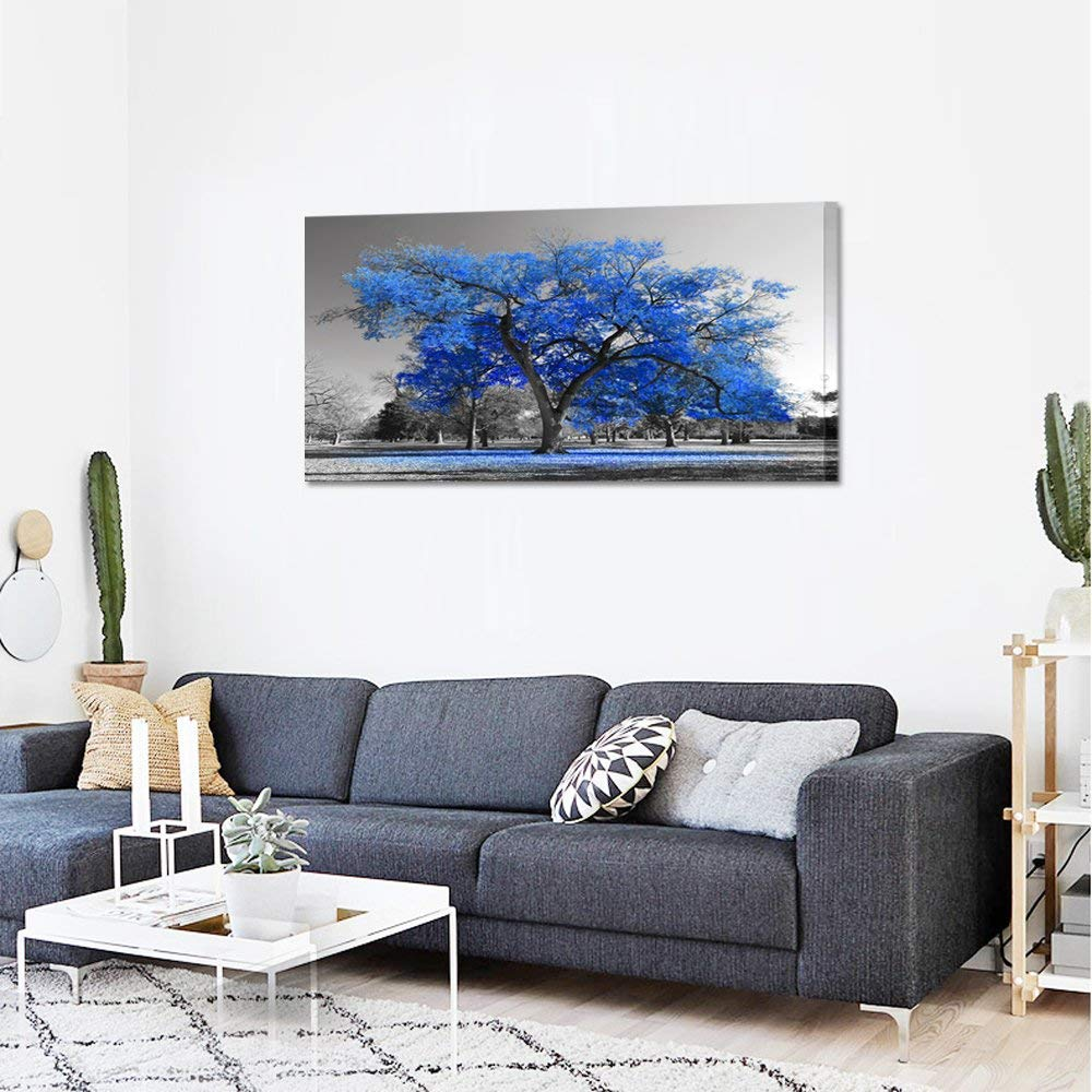 Overall Size 48x24inch Youk-art Canvas Print Wall Art Painting Contemporary Blue Tree In Black And White Style Fall Landscape Picture Modern Giclee Artwork Blue, 24x48 Gift For Bathroom Bedroom