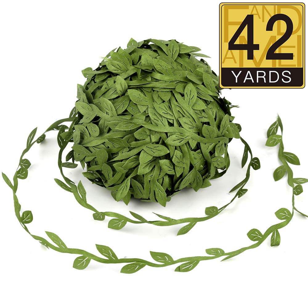 Great for DIY Craft Gift Wrapping Party Wedding Home Decoration Tosnail 5 Roll Total 109 Yards Olive Green Leaves Leaf Trim Ribbon Artificial Vines Leaf Garland
