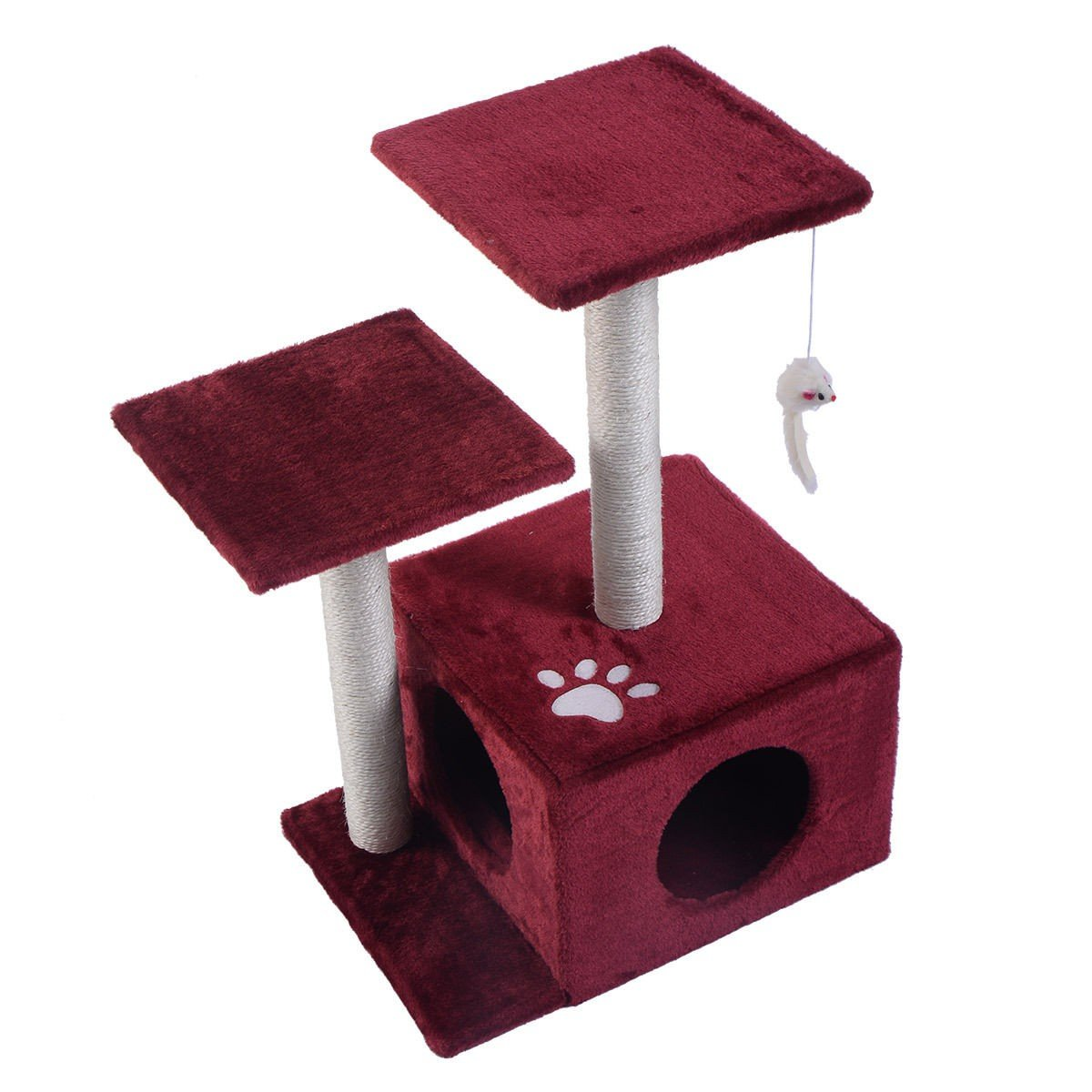 27'' Cat Tree Deluxe Condo Furniture Play Toy Scratch Post Kitten Pet House - Beautifully Designed With Fun Activities For Your Cat To Scratch, Climb, Jump, Play And Even To Sleep Or Lounge On (Red)
