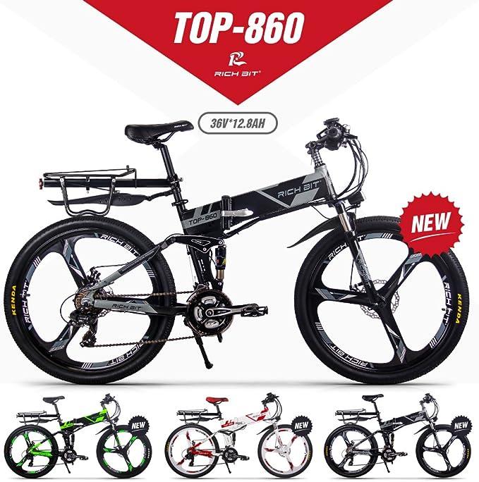 GUOWEI Rich bit RT-860 36V 12.8AH 250W Bicicleta Plegable eléctrica Bicicleta de Ciudad de suspensión Completa (Black-Gray): Amazon.es: Deportes y aire libre