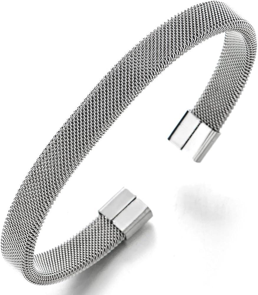 COOLSTEELANDBEYOND Elastic Adjustable Stainless Steel Mesh Cable Bangle Bracelet for Men Women