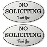 2-Pack No Soliciting Signs - No Trespass Signs, Private Property Signs, No Solicitation Self-Adhesive Oval Aluminum Signs for Office, Business or Home Use, Silver - 7 x 4.4 Inches