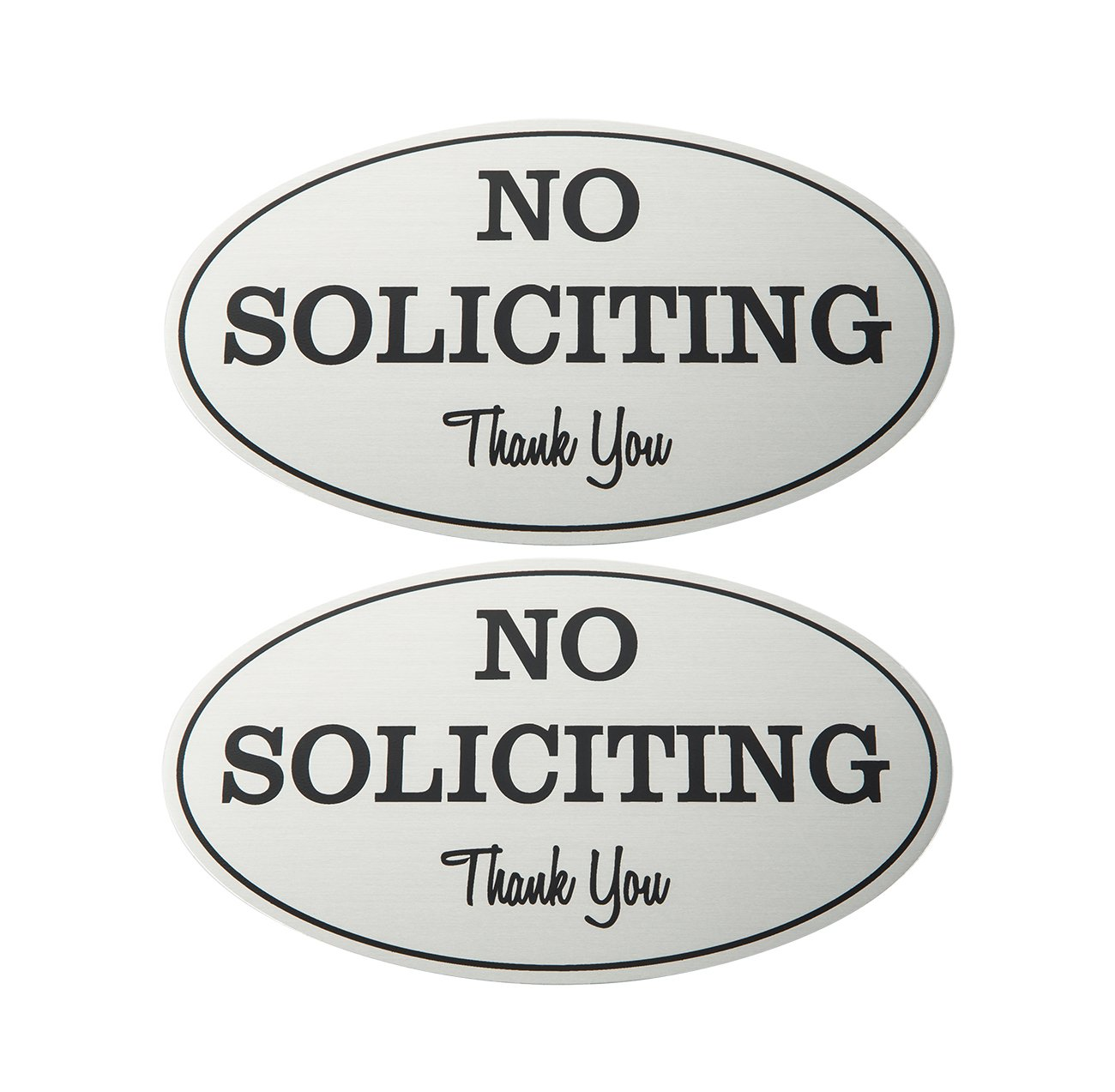 2Pack No Soliciting Signs – NoトレスパスSigns、Private Property Signs、NO勧誘自己粘着オーバルアルミSigns for Officeビジネス、自宅使用、シルバー – 7 x 4.4 CM B078PGDBS7
