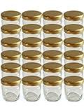 20er Set Sturzgläser Mini Gläser 53 ml Deckelfarbe Gold To 43 Rundgläser Honig Kaviar Marmeladengläser Obstgläser Einweckgläser Senf, Honig, Gläser, Einmachgläser, Portionsgläser, Probiergläser, Imker Vitrea