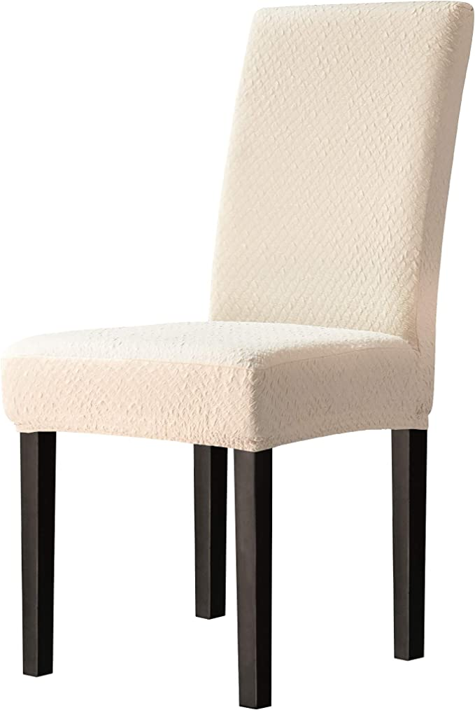 TOYABR Dining Chair Covers Seersucker Stretchy Spandex Chair Protecter Slipcovers for Banquet Wedding Party Dining Room (4pcs, Cream Ivory)
