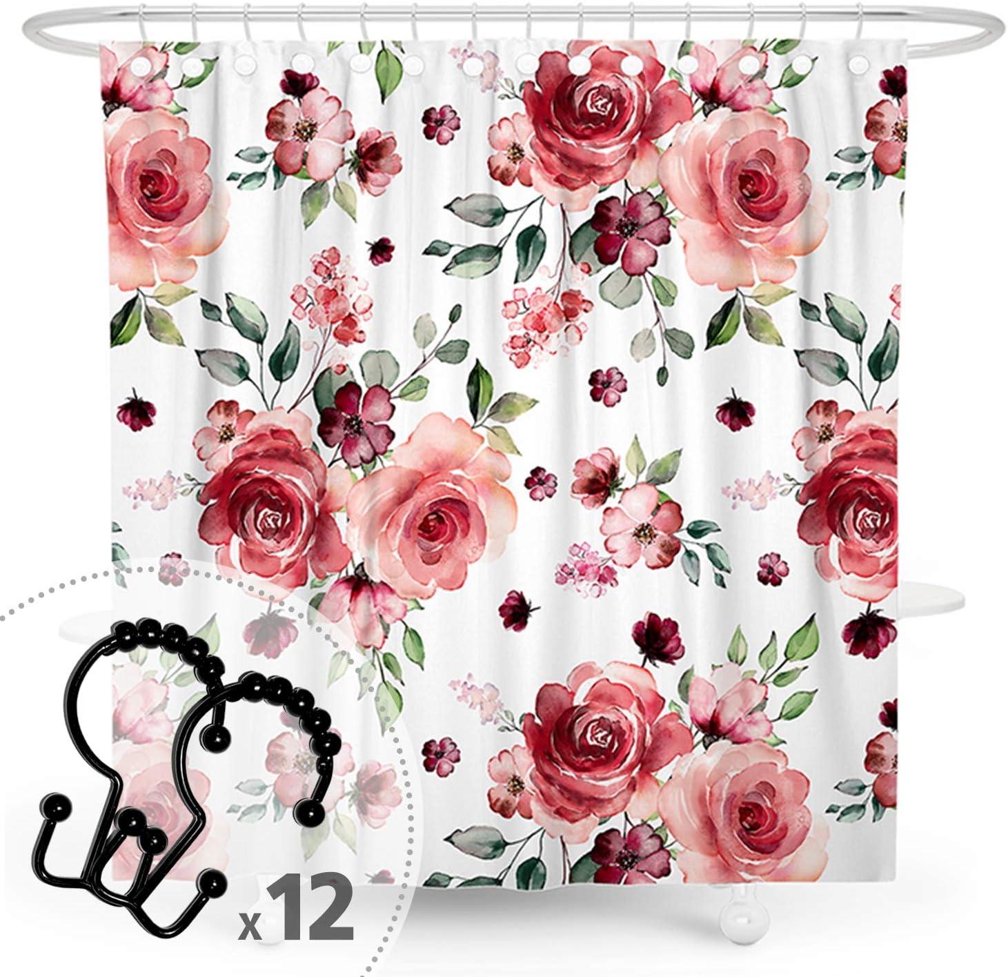DESIHOM Floral Shower Curtain Pink Rose Shower Curtain Flower Shower Curtain Wildflower Shower Curtain Garden Shower Curtain Vintage Plant Shower Curtain Fall Polyester Waterproof Shower Curtain 72x72