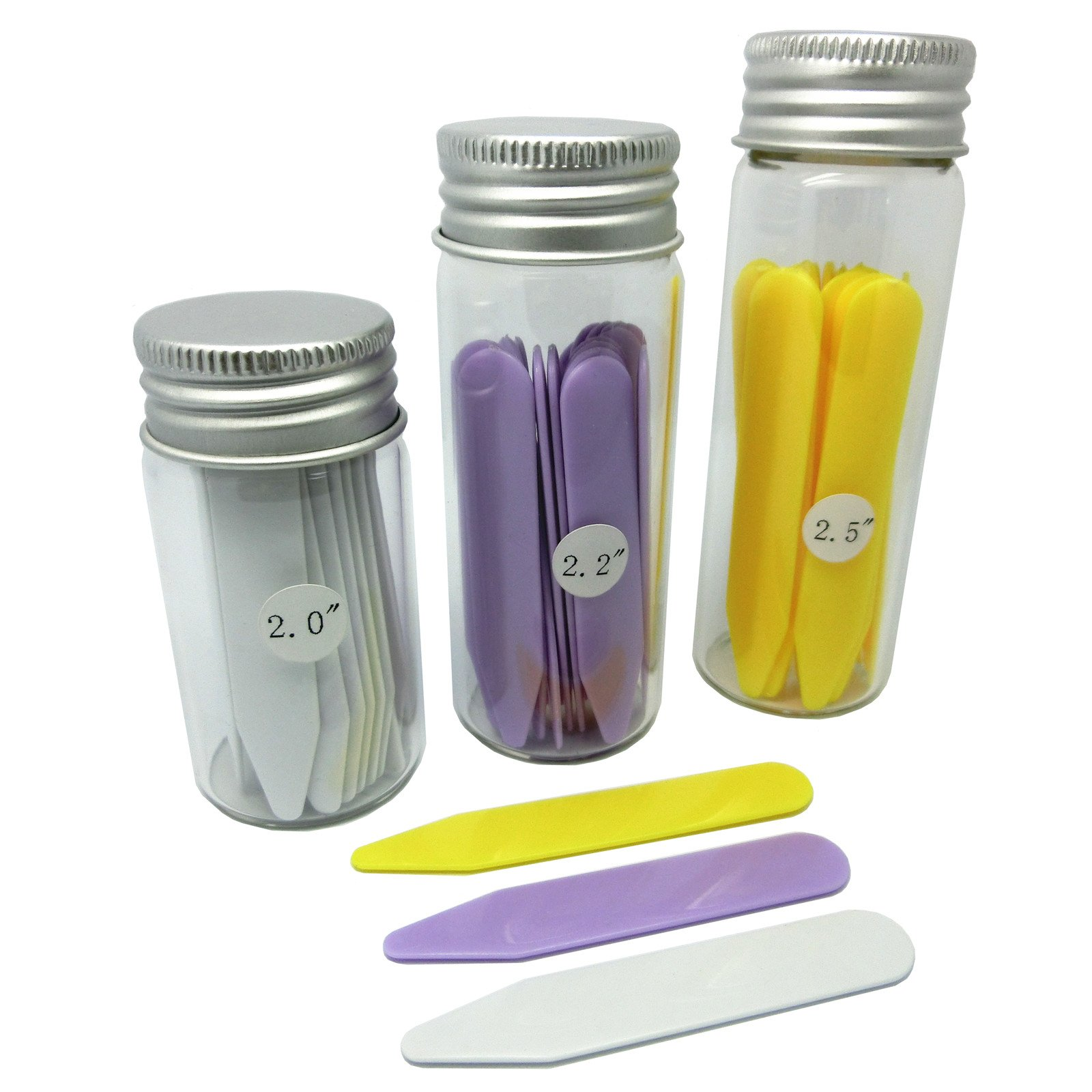 Shang Zun 48 Pcs Plastic Collar Stays in 3 Glass Bottles, 3 Sizes
