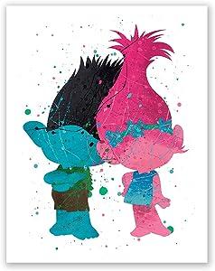 PGbureau Trolls Poster - Branch and Poppy Wall Art Prints Kids Room Decor – Nursery Trolls – Birthday Party Decoration (8x10)