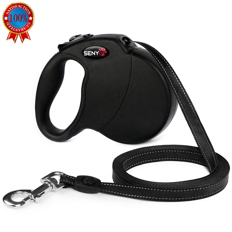 senye Retractable Dog Leash, Tangle Free, One Button Break & Lock, Dog Walking Leash (Black)