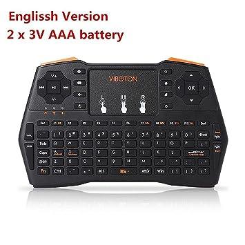 GOTTING Remota del teclado del Touchpad de control portátil de luz de fondo Mini Wireless para Windows PC Android TV Box juego Air Mouse sola luz de fondo y ...