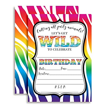 Rainbow Zebra Print Wild Birthday Party Invitations 20 5quotx7quot Fill In Cards