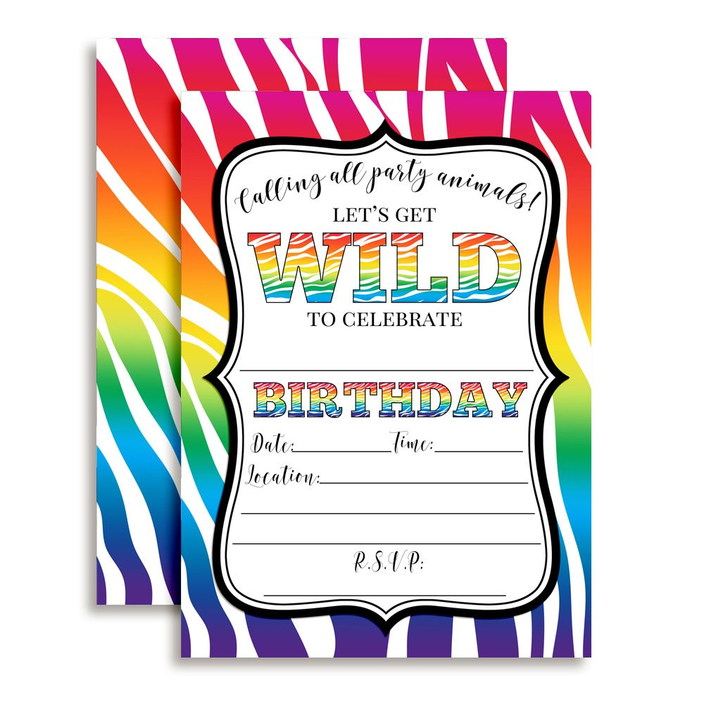 Rainbow Zebra Print Wild Birthday Party Invitations, Ten 5''x7'' Fill In Cards with 10 White Envelopes by AmandaCreation Perfect for Teen and Tween Birthdays, Even Adults!
