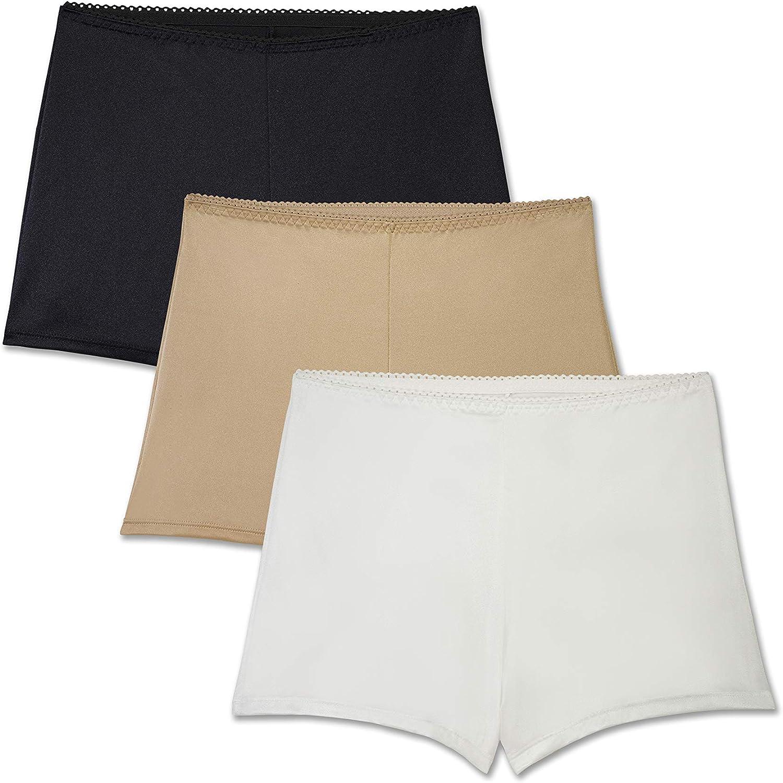 Brilliance by Vanity Fair Womens 3-Pack Undershapers Light Control Boyshort Panty 42301 Boy Short Panties