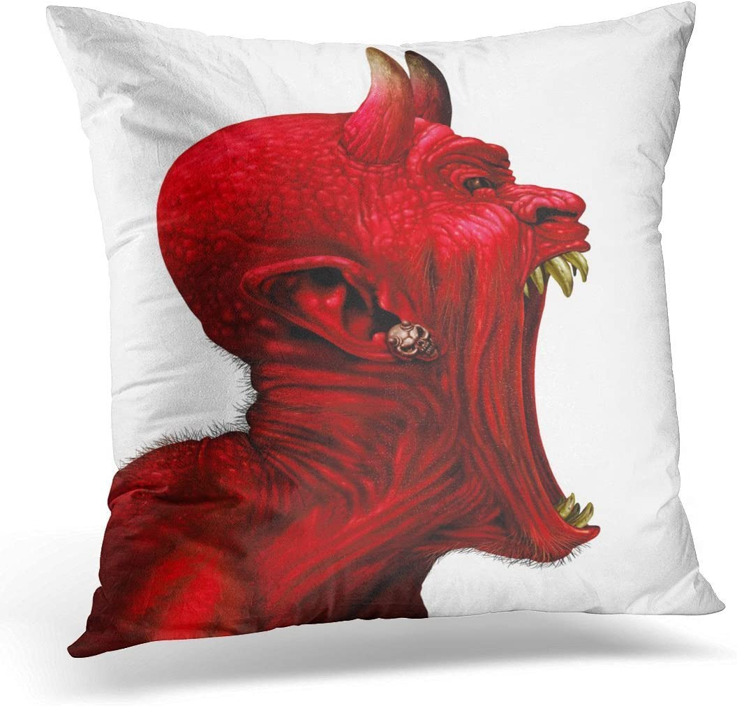 SPXUBZ Devil Scream Character As Red Demon Monster Screaming with Fangs and Teeth with in Open Mouth Side View Decorative Home Decor Square Indoor/Outdoor Pillowcase Size: 16x16 Inch(Two Sides)