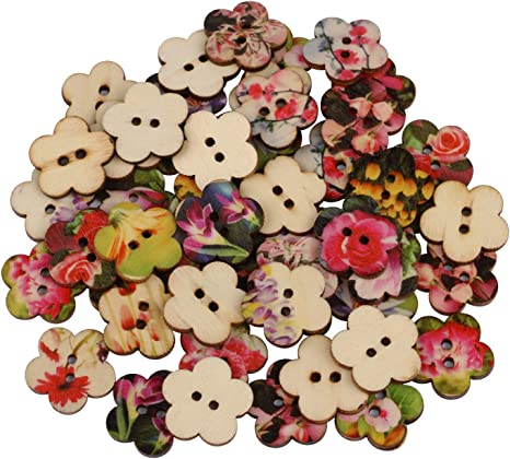 50pcs 2 Holes Flower Wooden Buttons Flat Back for Sewing Costume Button HC