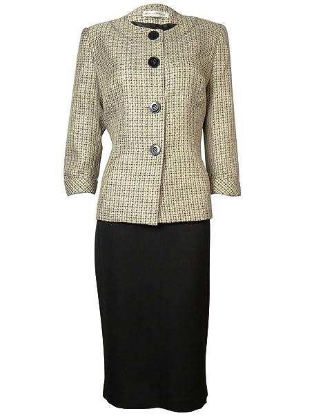 Amazon Com Evan Picone Tweed Contrast Women S Collarless Skirt Suit