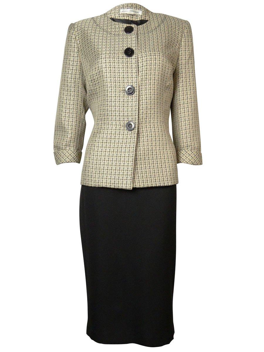 Evan Picone Tweed Contrast Women's Collarless Skirt Suit Beige 6