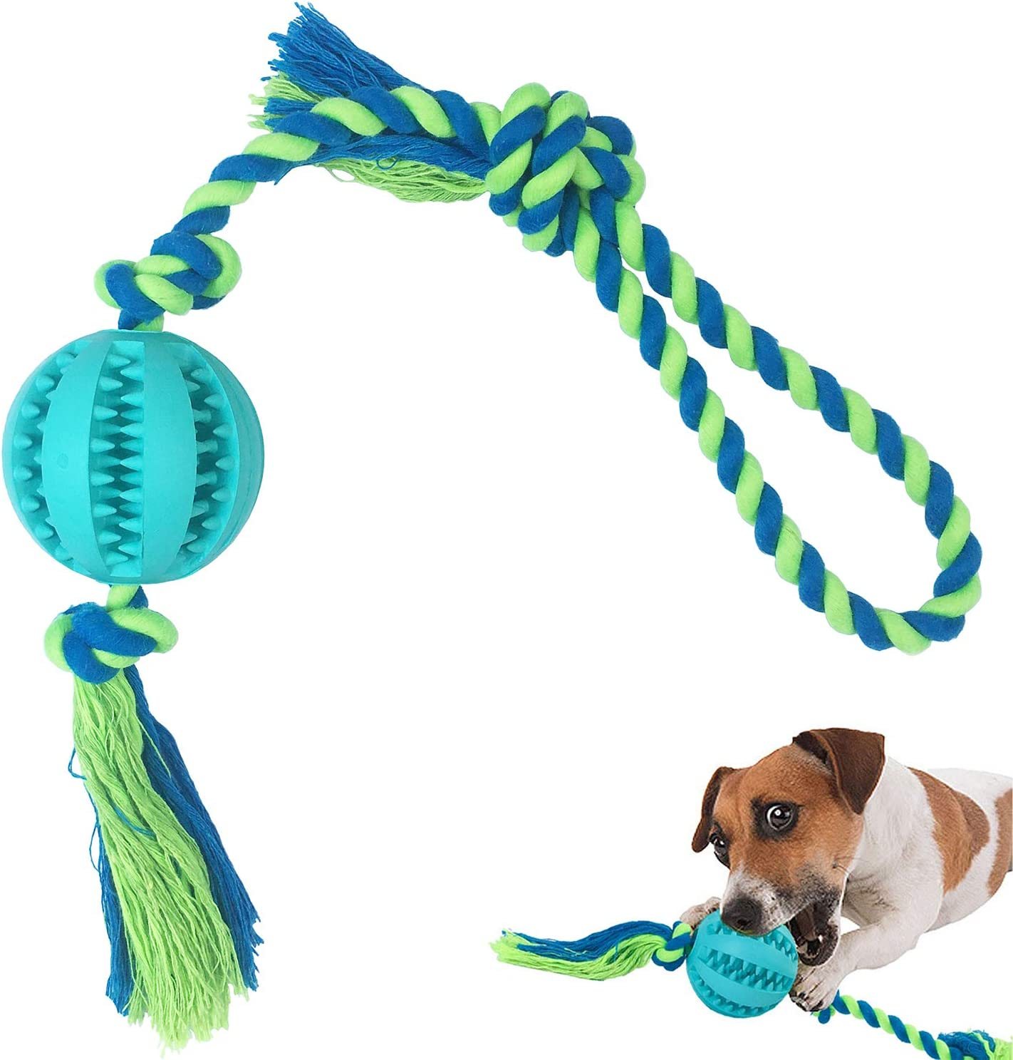 Interactive Dog Toys,Large/Medium Dog Tug Toy, IQ Treat Boredom Food Dispensing, Puzzle Puppy Pals Tough Durable Rubber Pet Ball, Best Cleans Teeth Dog Balls