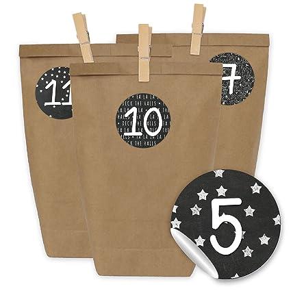 Papierdrachen 24 Adventskalender Tüten Mit 24 Aufkleber