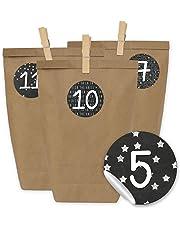 Kit per calendario dell'avvento con 24sacchetti numerati di carta kraft, adesivi e pinzette