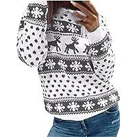 Suéter Mujer, LANSKIRT Mujeres Manga Larga Navidad Estampado de Ciervo Cuello Sudadera Redondo Jersey Suéter 2020