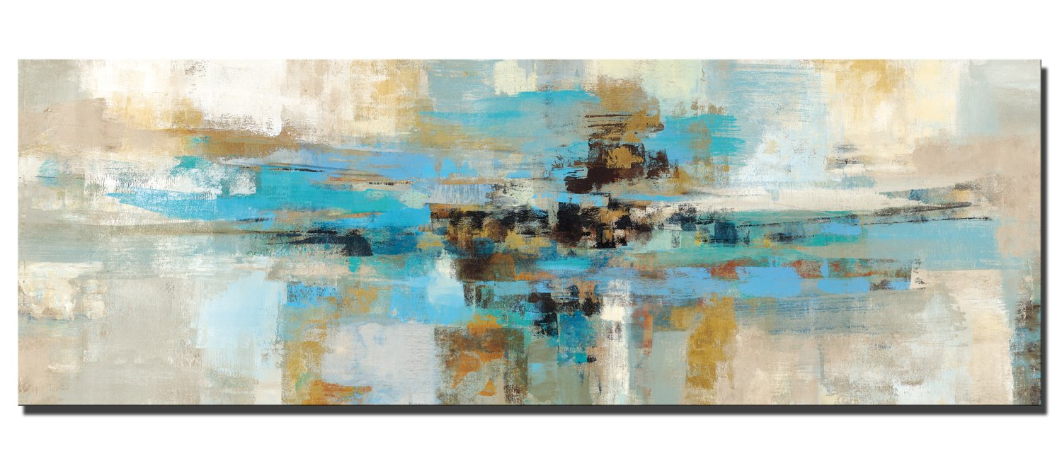 Modern 3 Pieces Turquoise Painting Teal Abstract Canvas Wall Art Aqua Blue Pictures and Prints for Living Room Bedroom Bathroom Decoration WESIATOR Ready to Hang
