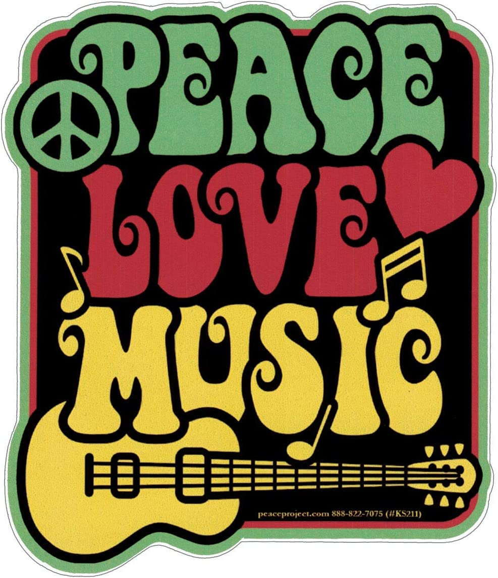 "Peace Love Music - Small Bumper Sticker or Laptop Decal (3"" X 3.5"")"