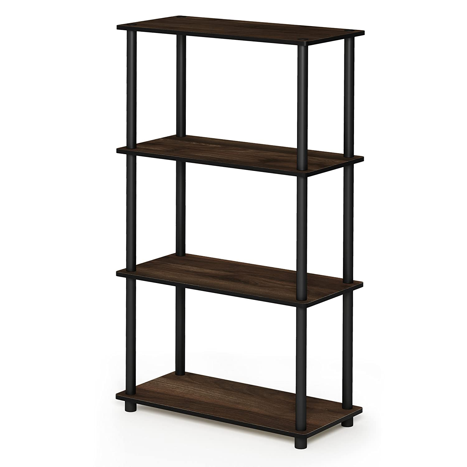 Columbia Walnut Black 4-Tier Single Furinno 17091BE WH Turn-N-Tube 5-Tier Compact Multipurpose Shelf, Single, Beech White