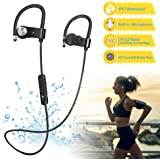 Bluetooth Headphones Wireless IPX7 Waterproof Earphones w/ Stereo and Bass, Built-in Microphone, Noise Cancelling, 8-10 Hours Play Time, Sweatproof Sport Headset Earbuds for Running, Gym (black)