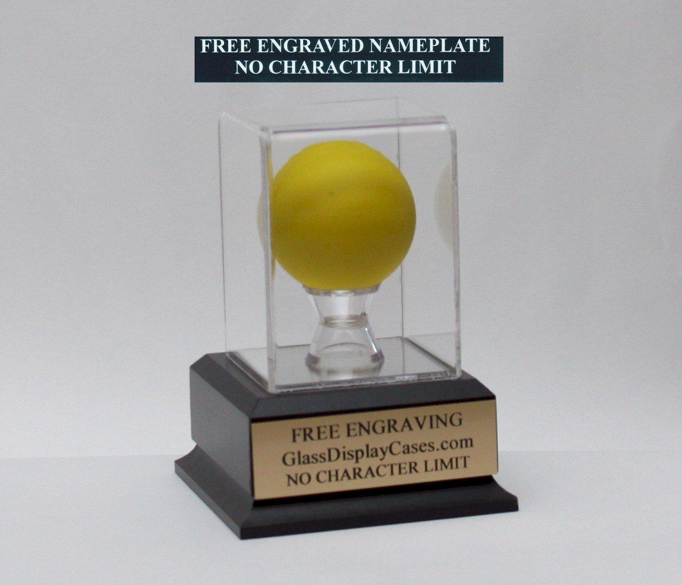 Lacrosse Ball Personalized Acrylic Display Case with Black Finish Wood Platform Base & Free Engraving
