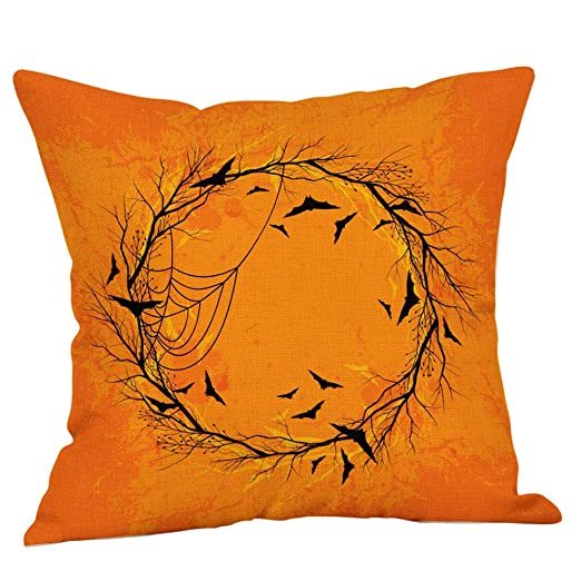 MAYOGO Funda Cojin Naranja 45x45 Letras Halloween Decoracion ...