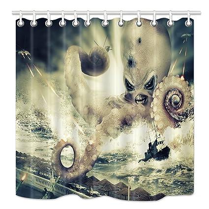 HNMQ Kraken Shower Curtain Octopus Tentacles Over Ocean Attack Aircraft Tanks Mildew Waterproof Resistant