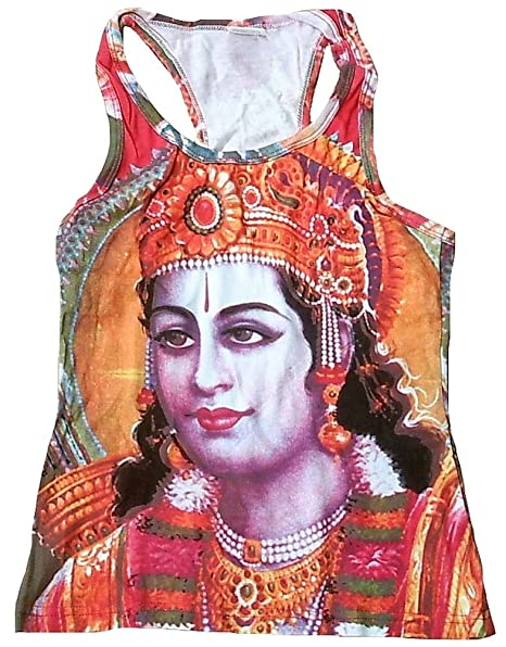TICILA Mujer Tank Top Camiseta Rojo Hindú Dios Lord Rama Psychodelic Goa Trance DJ Beach Party
