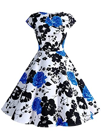 Wedtrend Damen 50er Hepburn Stil Vintage Cap Sleeves Dot Einfarbig  Rockabilly Kleid Swing Kleider WTP10002 Black