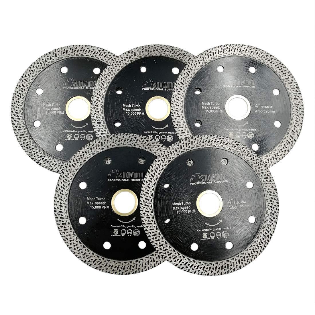 SHDIATOOL Disco Tronzador de Diamante 5 Piezas 115MM con Malla Turbo Hoja de Sierra para Porcelana Azulejos Cer/ámica Granito M/ármol