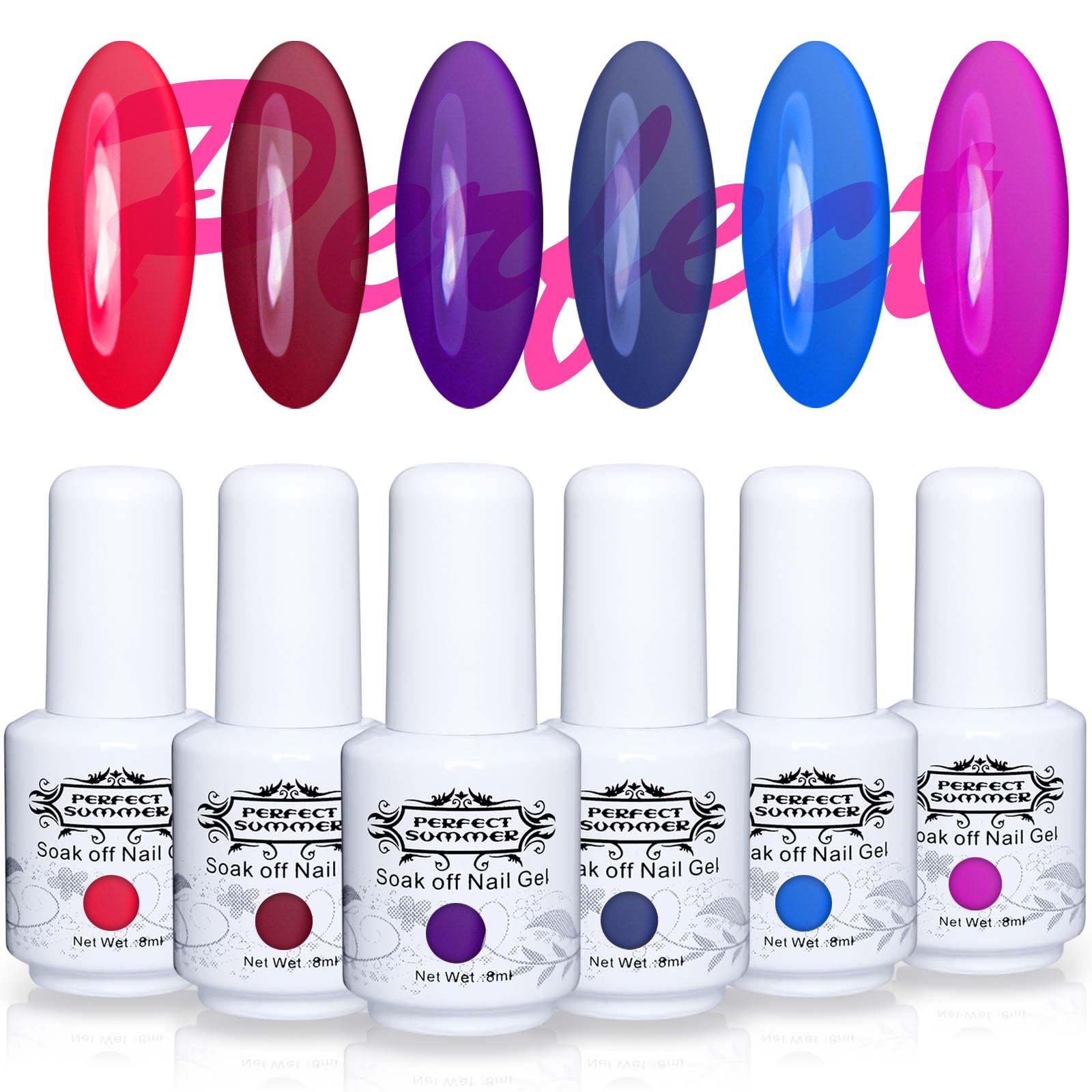 Perfect Summer 6PCS Soak Off UV Gel Glass Polish Translucent Jelly Look Crystal Gel Polish 8ML Color Nail Gel Polish Manicure Kit Gift Set #043 by Perfect Summer