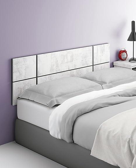 Abitti Cabezal cabecero Blanco Collage para Camas de 135cm o 150cm Ancho de Dormitorio. Incluye