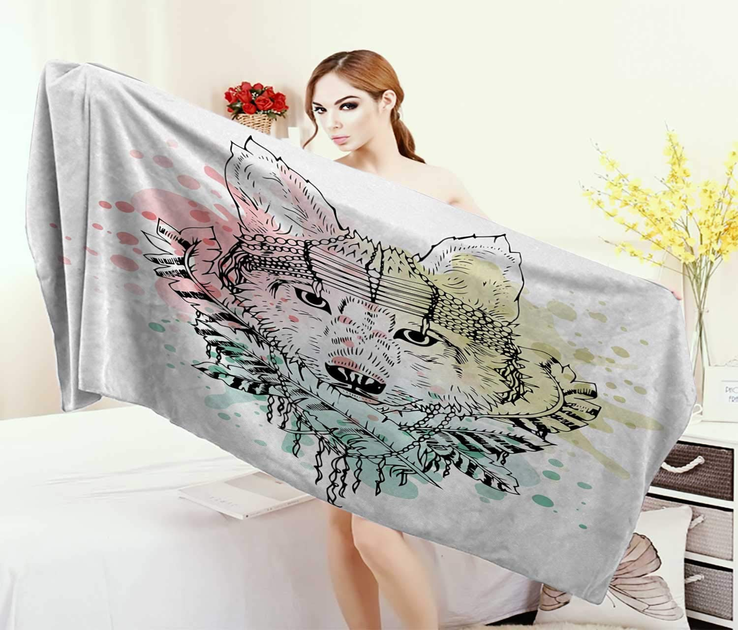 Abstract,Bath Towel,Wild Brave Tribal Animal Wolf Rainbow Colorful Backdrop Sketchy Image,Bathroom Towels,Multicolor Size: W 31.5'' x L 63''