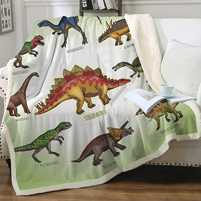 "Fleece Handmade Soft Tie Blanket Large Throw 60/""X72/"" Cartooned Dinosaurs"